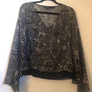 Black bell sleeve Floral and lace sheer blouse